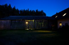 Night view of a rural house in Poland stock images