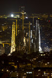 Night view of the Sagrada Familia in Barcelona Royalty Free Stock Photo