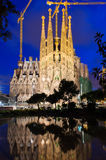 Night view of Sagrada Familia in Barcelona Royalty Free Stock Photo