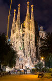 Night view of Sagrada Familia in Barcelona royalty free stock photography