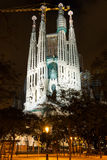Night view of Sagrada Familia in Barcelona royalty free stock images