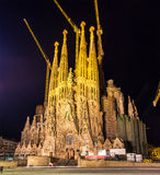 Night view of Sagrada Familia church Stock Image