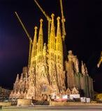 Night view of Sagrada Familia church Stock Image