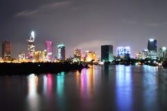 Night view of Saigon City, Vietnam Stock Images