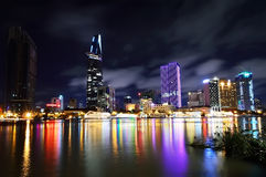 Night view of Saigon City, Vietnam Royalty Free Stock Image