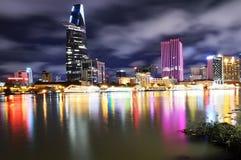 Night view of Saigon City, Vietnam Stock Photo