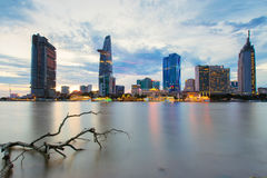 Night view of Saigon river at downtown ( center ) of ho chi minh city, Vietnam Royalty Free Stock Photography