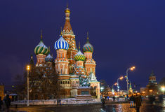 Night view of Saint Basil s Cathedral in Moscow Royalty Free Stock Image