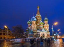 Night view of Saint Basil s Cathedral in Moscow Royalty Free Stock Images