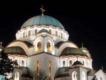Night view of Saint Sava Temple in Belgrade. stock photo