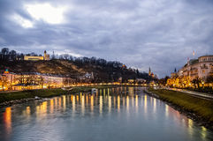 Night view on Salzburg city and Salzburg river Stock Photography