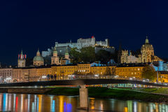 Night view of Salzburg old town Royalty Free Stock Images