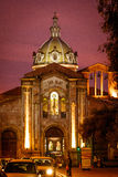 Night view of San Blas cathedral in Cuenca. Ecuador stock photos