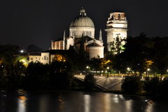 Night view of San Giorgio Church over the Adige river, Verona Stock Image