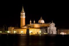 Night view of San Giorgio Island, Venice, Italy Royalty Free Stock Images