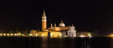 Night view of San Giorgio Island, Venice, Italy Royalty Free Stock Image