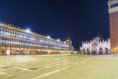 Night view of San Marco Square in Venice, Italy Stock Photography