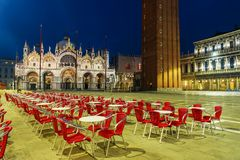 Night view of San Marco Square in Venice, Italy Stock Photo
