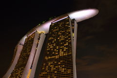 Marina sands hotel at night. Night view of sands hotel singapore Stock Photos