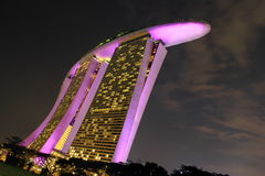 Pink color sands hotel at night. Night view of sands hotel singapore Royalty Free Stock Image