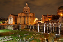 Night view of Santi Luca e Martina church Royalty Free Stock Image