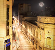 Night view of Santiago de Chile downtown. Royalty Free Stock Images