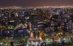 Night view of Santiago de Chile toward the east part of the city, showing the Mapocho river and Providencia and Las Condes distric. Night view of Santiago de Royalty Free Stock Photo