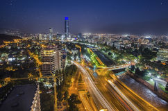 Night view of Santiago de Chile toward the east part of the city, showing the Mapocho river and Providencia and Las Condes distric. Night view of Santiago de Stock Photo