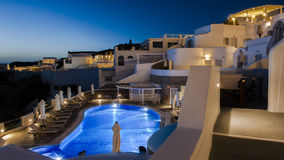 The night view of Santorini Fira in Greece Stock Photo
