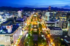 Night view of Sapporo cityscape Royalty Free Stock Image