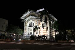 Schoelcher Library, Fort de France, Martinique at night. Night view of the Schoelcher Library Bibliotheque, in Fort de France, the capital of Martinique, the Stock Images