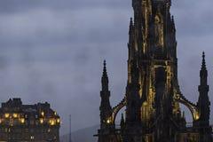 Night view of Scott Monument in princes street, Edinburgh Stock Image