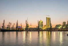 The night view of sea port in baku azerbaijan Royalty Free Stock Image