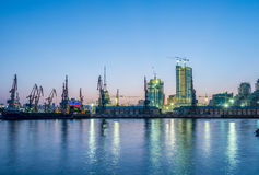 The night view of sea port in baku azerbaijan Royalty Free Stock Photos