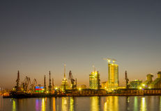 The night view of sea port in baku azerbaijan Royalty Free Stock Photo