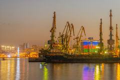 The night view of sea port in baku azerbaijan Stock Image