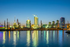 The night view of sea port in baku azerbaijan Stock Images