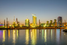 The night view of sea port in baku azerbaijan Royalty Free Stock Images
