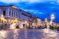 Night view of seafront of San Marco square in Venice Stock Images