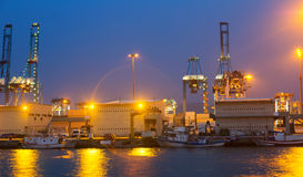 Night view of  seaport. Algeciras Stock Photography