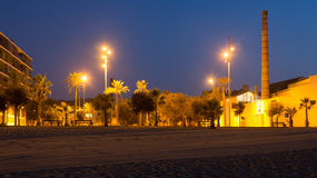 Night view of seaside at Badalona Stock Photography