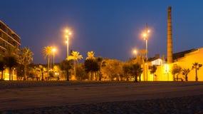 Night view of seaside at Badalona Stock Photography