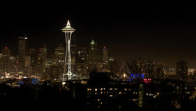 Night View on Seattle Downtown Royalty Free Stock Photography