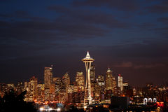 Night view of Seattle downtown Stock Photos