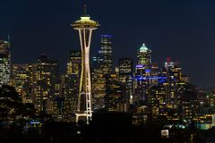 Night view of the Seattle skyline with the Space Needle and other iconic buildings in the background. royalty free stock photo