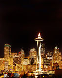 Night View on Seattle Skyline with Space Tower Stock Photography