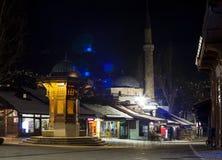 Night view of the Sebilj, wooden fountain in Sarajevo Stock Photos