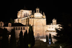 A night view of a section of the Church of St Stephen on Plaza del Concilio de Trento, Salamanca Stock Image