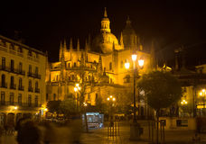 Night view of  Segovia Cathedral Royalty Free Stock Photography