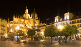 Night view of Segovia Cathedral Royalty Free Stock Image